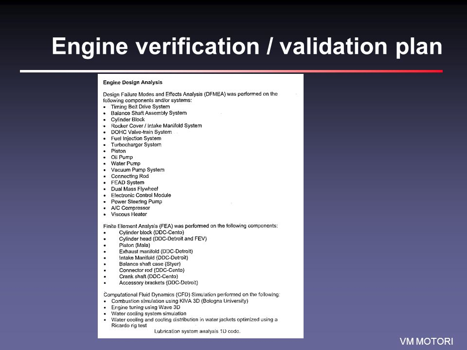 VM MOTORI Verification / Validation Plan