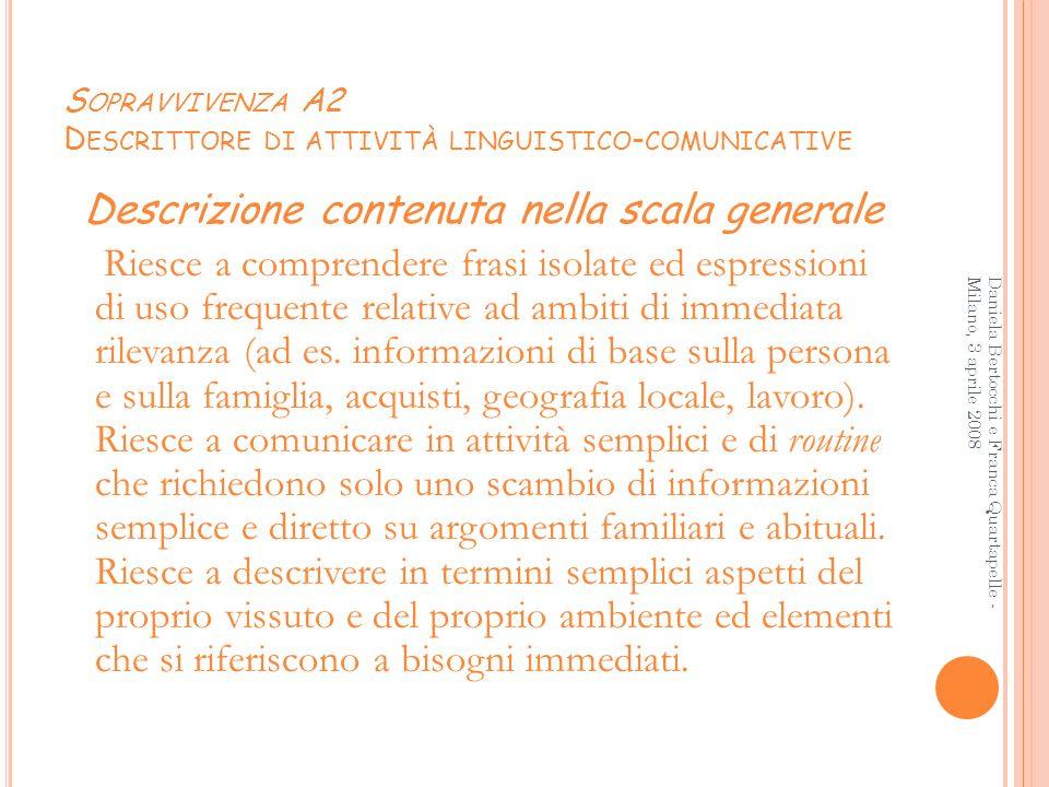 S OPRAVVIVENZA A2 D ESCRITTORE DI ATTIVITÀ LINGUISTICO - COMUNICATIVE Descrizione contenuta nella scala generale Riesce a comprendere frasi isolate ed