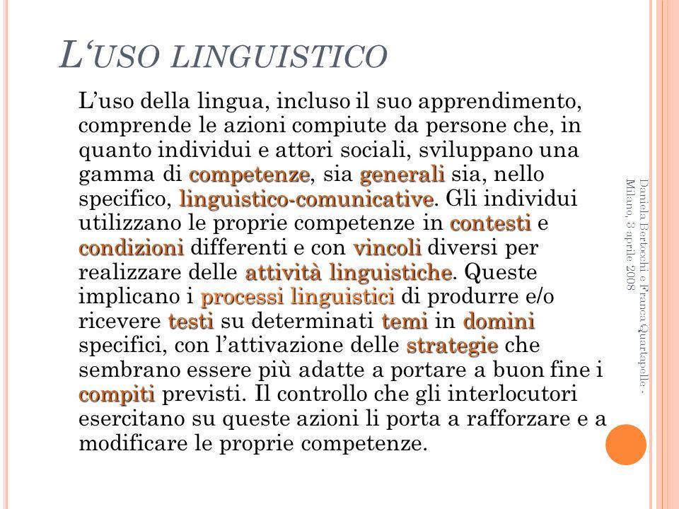 L USO LINGUISTICO competenzegenerali linguistico-comunicative contesti condizionivincoli attività linguistiche processi linguistici testitemidomini st