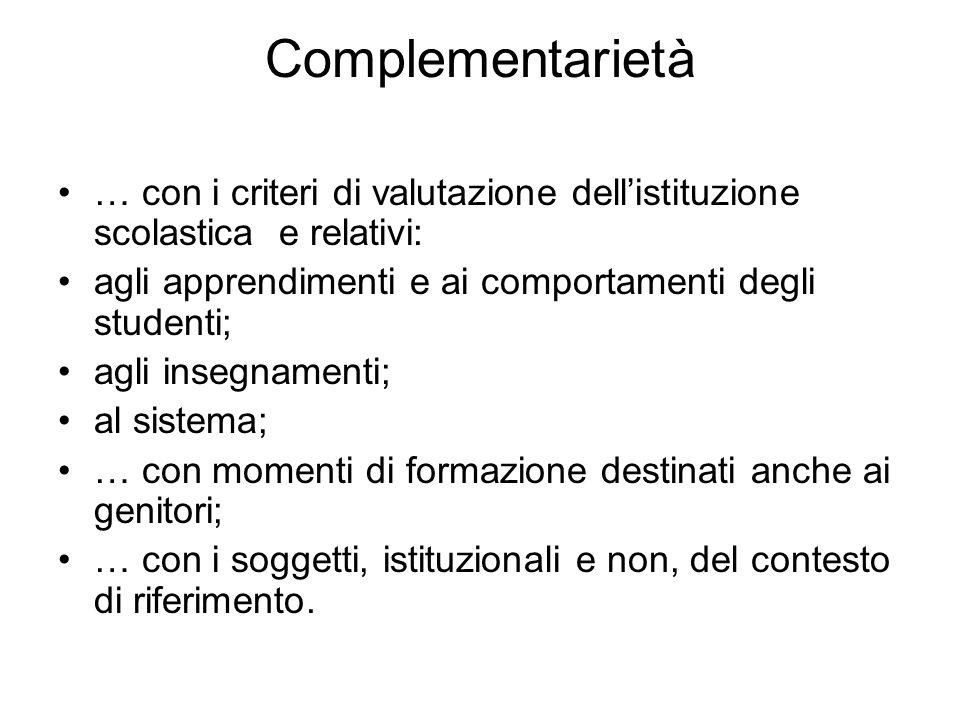 Complementarietà … con i criteri di valutazione dellistituzione scolastica e relativi: agli apprendimenti e ai comportamenti degli studenti; agli inse
