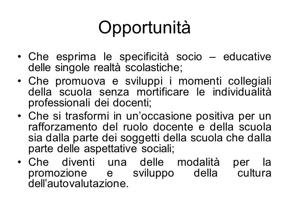 Opportunità Che esprima le specificità socio – educative delle singole realtà scolastiche; Che promuova e sviluppi i momenti collegiali della scuola s