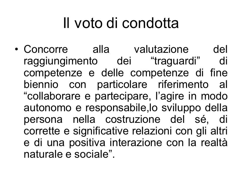 Il voto di condotta Concorre alla valutazione del raggiungimento dei traguardi di competenze e delle competenze di fine biennio con particolare riferi
