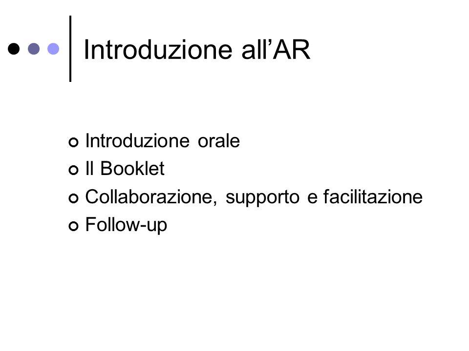 Introduzione allAR Introduzione orale Il Booklet Collaborazione, supporto e facilitazione Follow-up