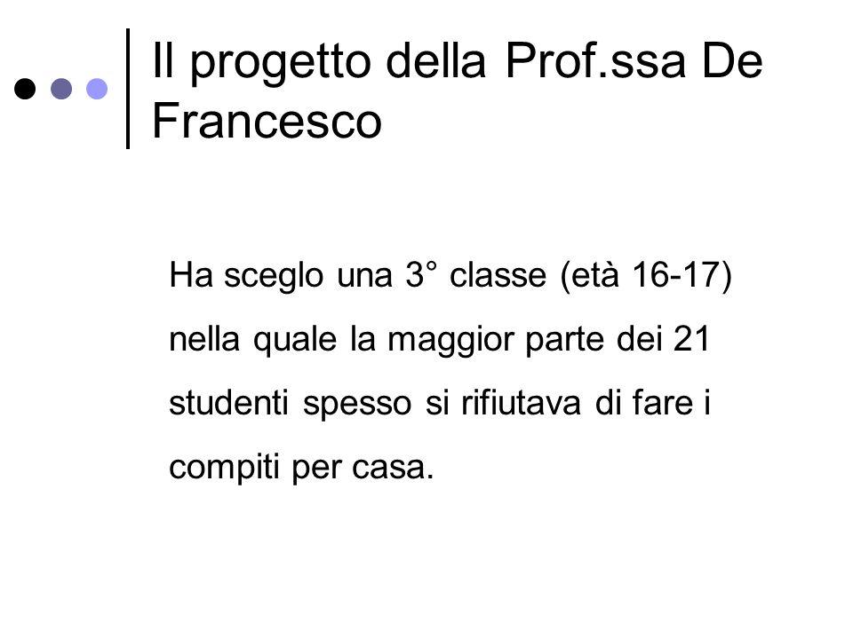 Il progetto della Prof.ssa De Francesco Ha sceglo una 3° classe (età 16-17) nella quale la maggior parte dei 21 studenti spesso si rifiutava di fare i compiti per casa.