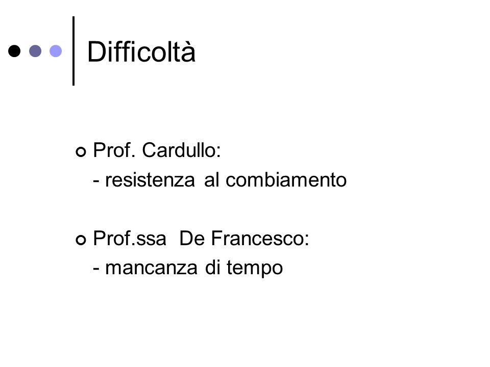 Difficoltà Prof. Cardullo: - resistenza al combiamento Prof.ssa De Francesco: - mancanza di tempo