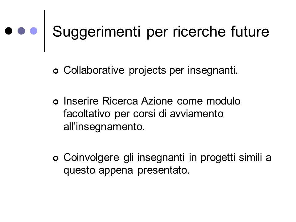 Suggerimenti per ricerche future Collaborative projects per insegnanti.