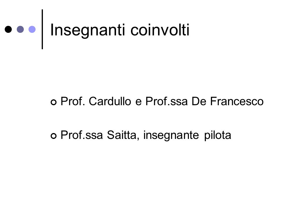 Insegnanti coinvolti Prof. Cardullo e Prof.ssa De Francesco Prof.ssa Saitta, insegnante pilota