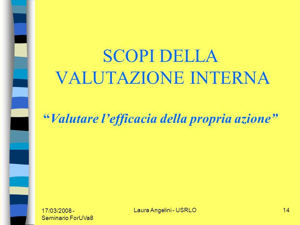 17/03/2008 - Seminario ForUVa8 Laura Angelini - USRLO14 SCOPI DELLA VALUTAZIONE INTERNAValutare lefficacia della propria azione