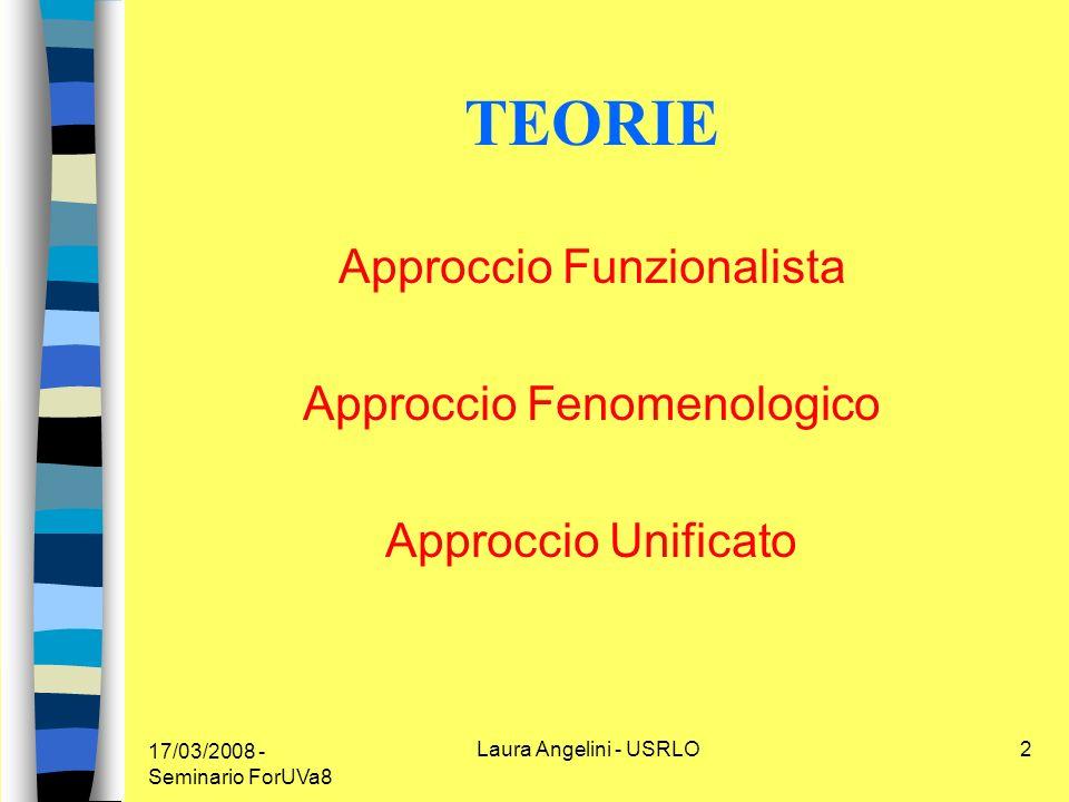 17/03/2008 - Seminario ForUVa8 Laura Angelini - USRLO2 TEORIE Approccio Funzionalista Approccio Fenomenologico Approccio Unificato