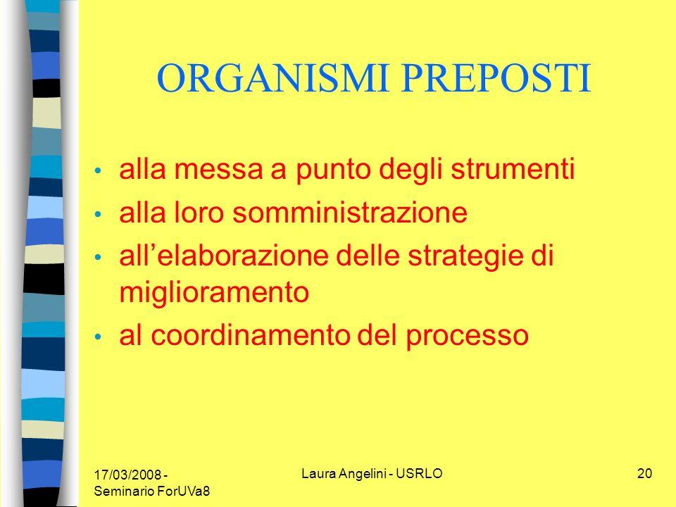 17/03/2008 - Seminario ForUVa8 Laura Angelini - USRLO20 ORGANISMI PREPOSTI alla messa a punto degli strumenti alla loro somministrazione allelaborazione delle strategie di miglioramento al coordinamento del processo
