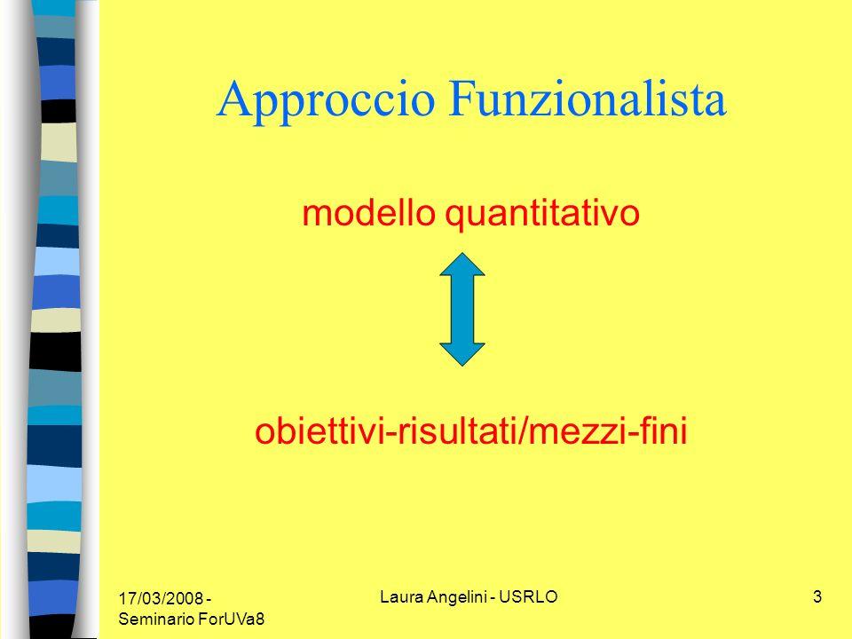 17/03/2008 - Seminario ForUVa8 Laura Angelini - USRLO3 Approccio Funzionalista modello quantitativo obiettivi-risultati/mezzi-fini