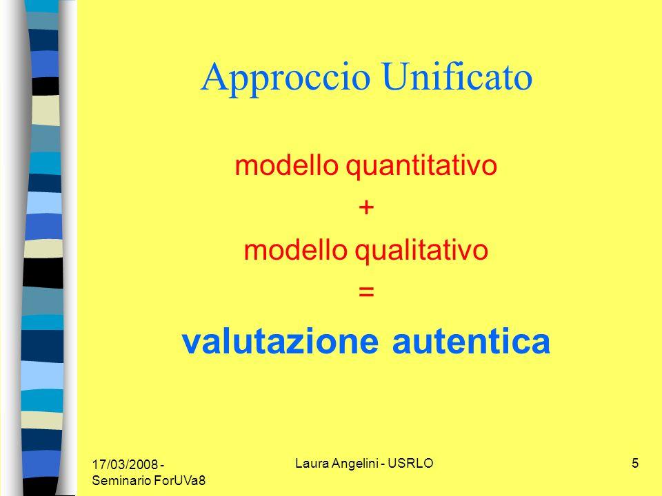 17/03/2008 - Seminario ForUVa8 Laura Angelini - USRLO5 Approccio Unificato modello quantitativo + modello qualitativo = valutazione autentica