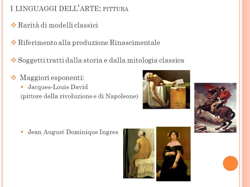 Rarità di modelli classici Riferimento alla produzione Rinascimentale Soggetti tratti dalla storia e dalla mitologia classica Maggiori esponenti: Jacq