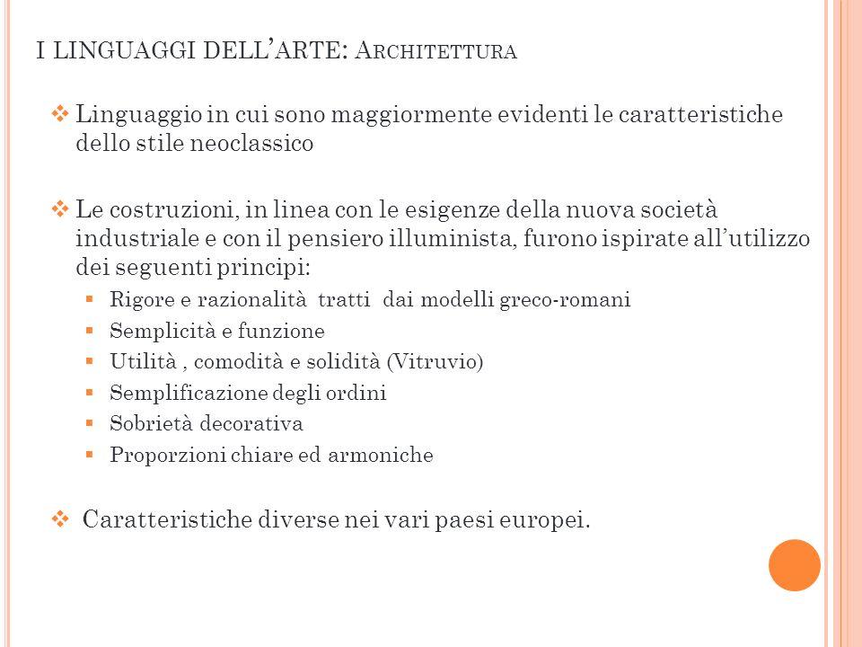 Linguaggio in cui sono maggiormente evidenti le caratteristiche dello stile neoclassico Le costruzioni, in linea con le esigenze della nuova società i