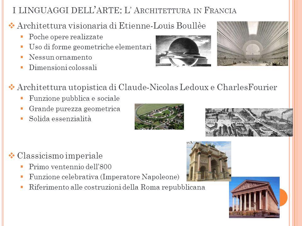 Architettura visionaria di Etienne-Louis Boullèe Poche opere realizzate Uso di forme geometriche elementari Nessun ornamento Dimensioni colossali Arch