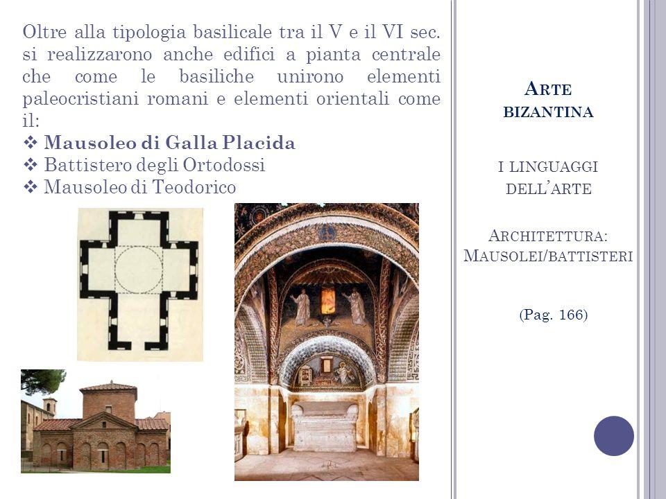 I LINGUAGGI DELL ARTE A RCHITETTURA : M AUSOLEI / BATTISTERI Oltre alla tipologia basilicale tra il V e il VI sec. si realizzarono anche edifici a pia