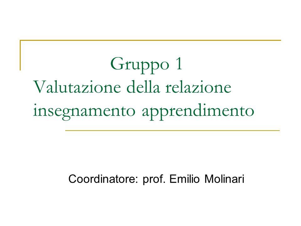 Gruppo 1 Valutazione della relazione insegnamento apprendimento Coordinatore: prof. Emilio Molinari