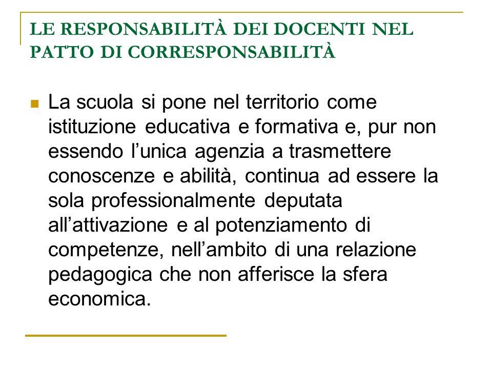 LE RESPONSABILITÀ DEI DOCENTI NEL PATTO DI CORRESPONSABILITÀ La scuola si pone nel territorio come istituzione educativa e formativa e, pur non essend