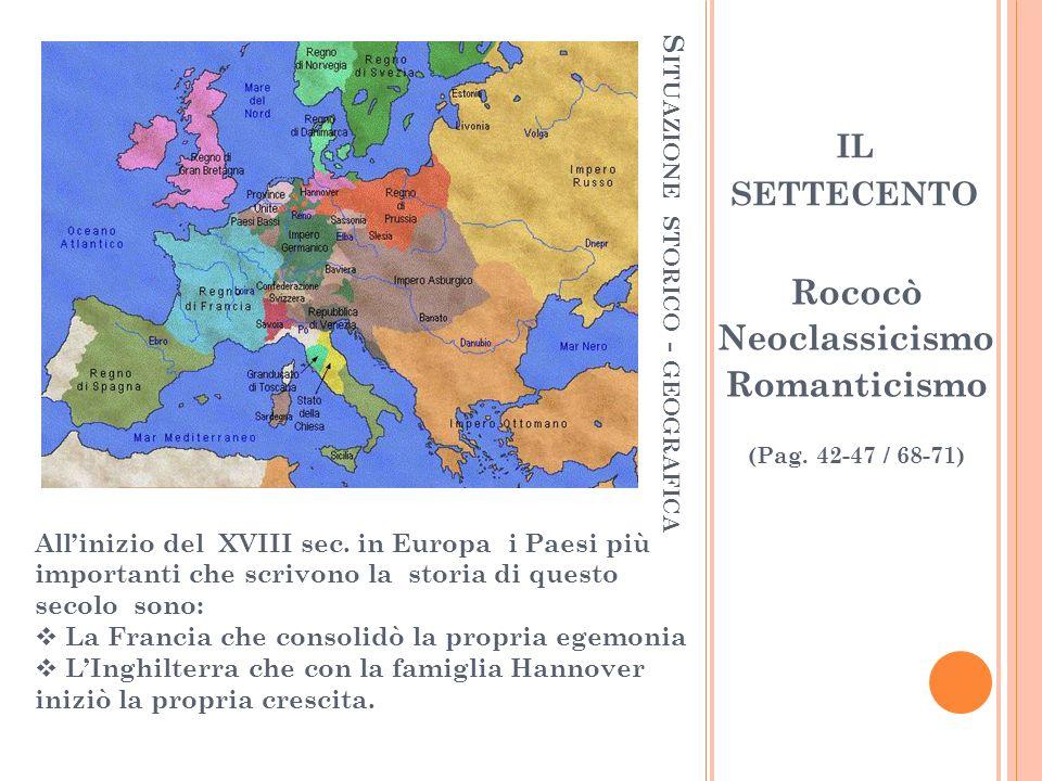 S ITUAZIONE STORICO - GEOGRAFICA Allinizio del XVIII sec. in Europa i Paesi più importanti che scrivono la storia di questo secolo sono: La Francia ch