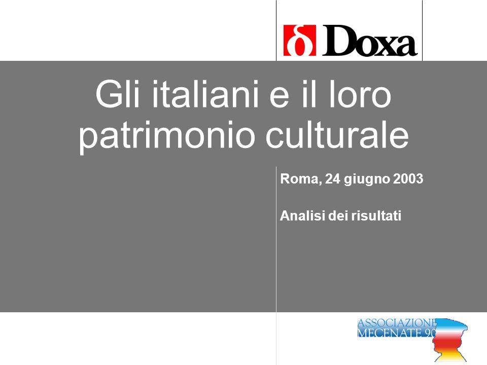 Gli italiani e il loro patrimonio culturale Roma, 24 giugno 2003 Analisi dei risultati