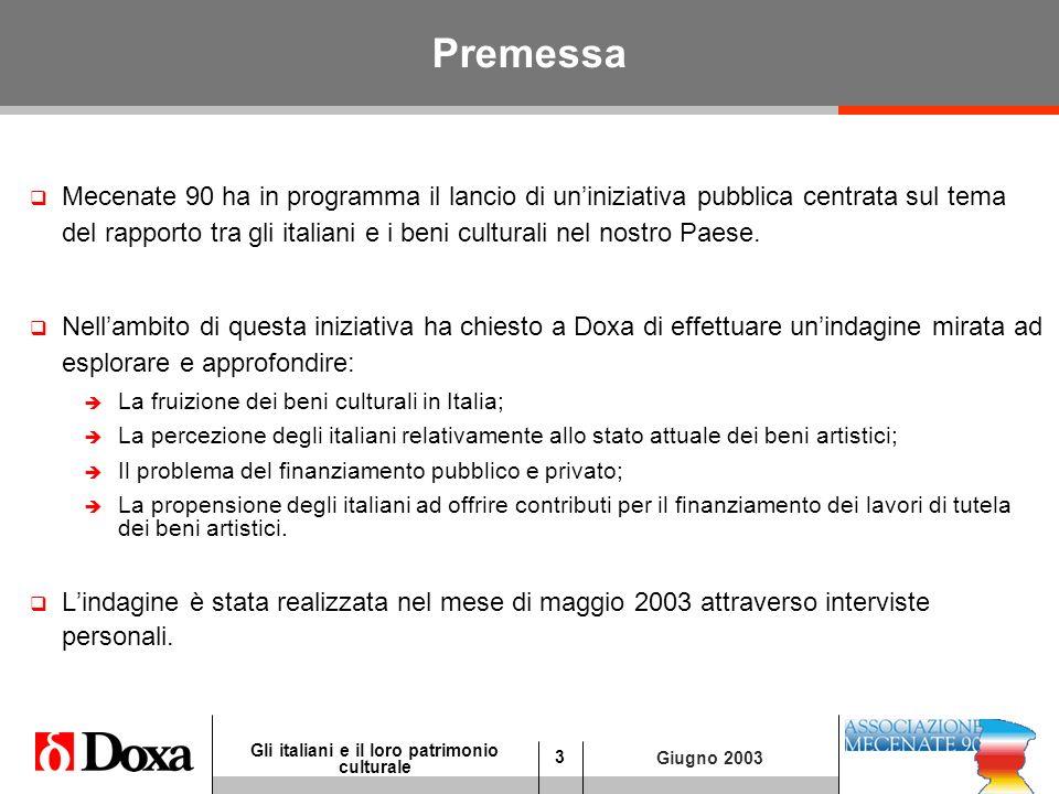 3 Gli italiani e il loro patrimonio culturale Giugno 2003 Premessa Mecenate 90 ha in programma il lancio di uniniziativa pubblica centrata sul tema del rapporto tra gli italiani e i beni culturali nel nostro Paese.