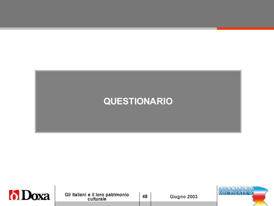 48 Gli italiani e il loro patrimonio culturale Giugno 2003 QUESTIONARIO