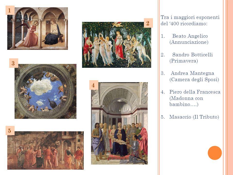 Tra i maggiori esponenti del 400 ricordiamo: 1. Beato Angelico (Annunciazione) 2. Sandro Botticelli (Primavera) 3. Andrea Mantegna (Camera degli Sposi