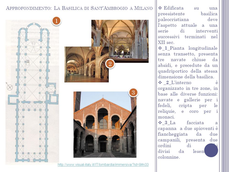 Edificata su una preesistente basilica paleocristiana deve laspetto attuale a una serie di interventi successivi terminati nel XII sec. _1_ Pianta lon