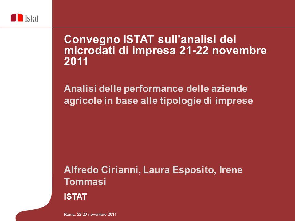 Alfredo Cirianni, Laura Esposito, Irene Tommasi ISTAT Analisi delle performance delle aziende agricole in base alle tipologie di imprese Convegno ISTA