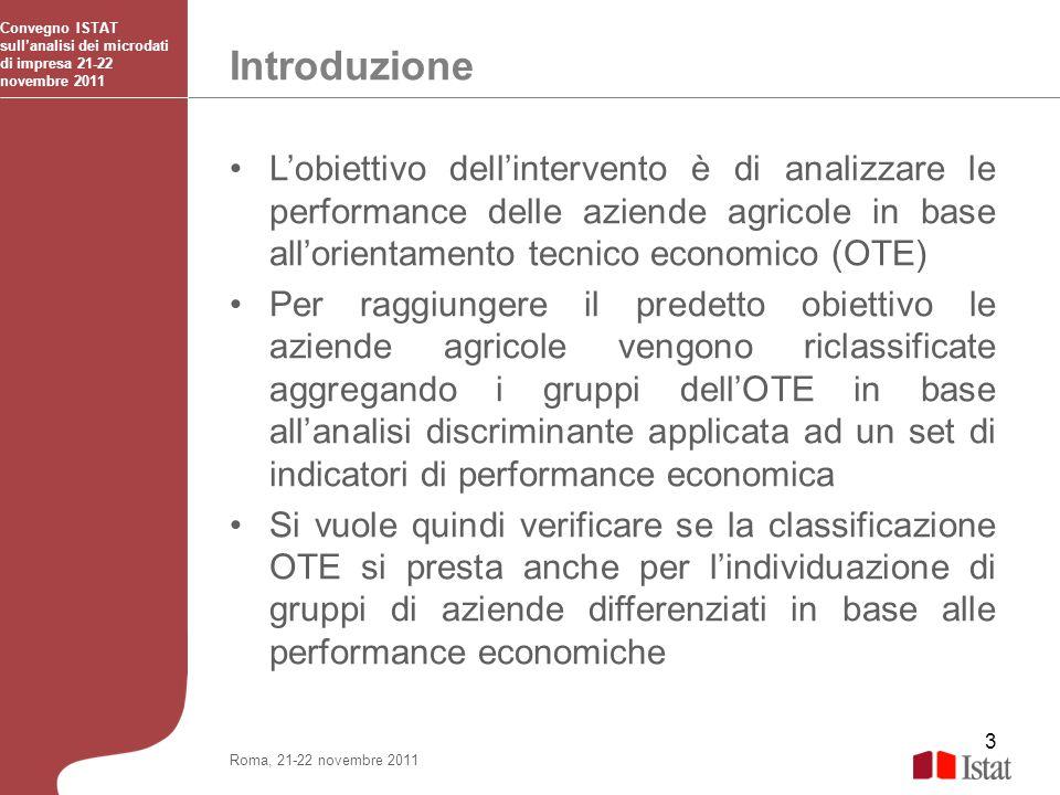 3 Introduzione Convegno ISTAT sullanalisi dei microdati di impresa 21-22 novembre 2011 Roma, 21-22 novembre 2011 Lobiettivo dellintervento è di analiz