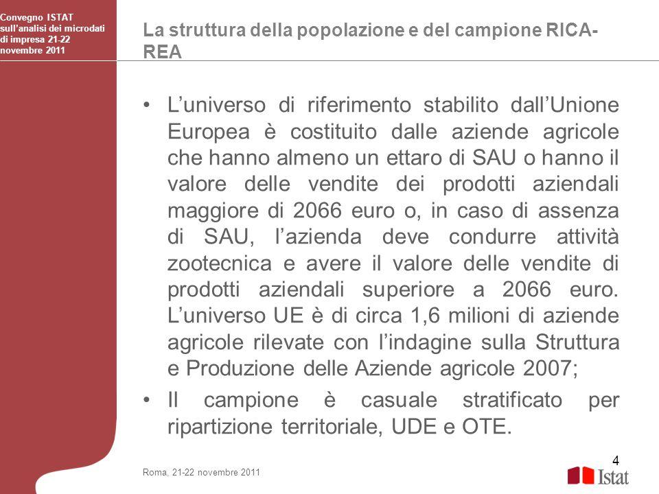 4 La struttura della popolazione e del campione RICA- REA Convegno ISTAT sullanalisi dei microdati di impresa 21-22 novembre 2011 Roma, 21-22 novembre