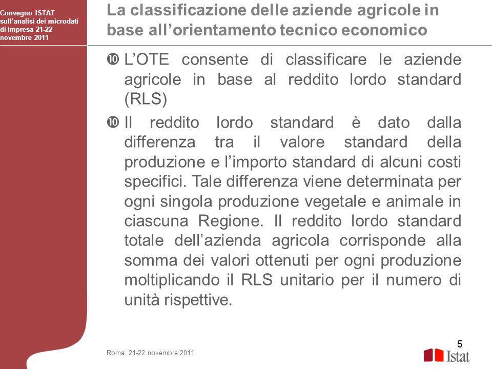 5 La classificazione delle aziende agricole in base allorientamento tecnico economico Convegno ISTAT sullanalisi dei microdati di impresa 21-22 novemb
