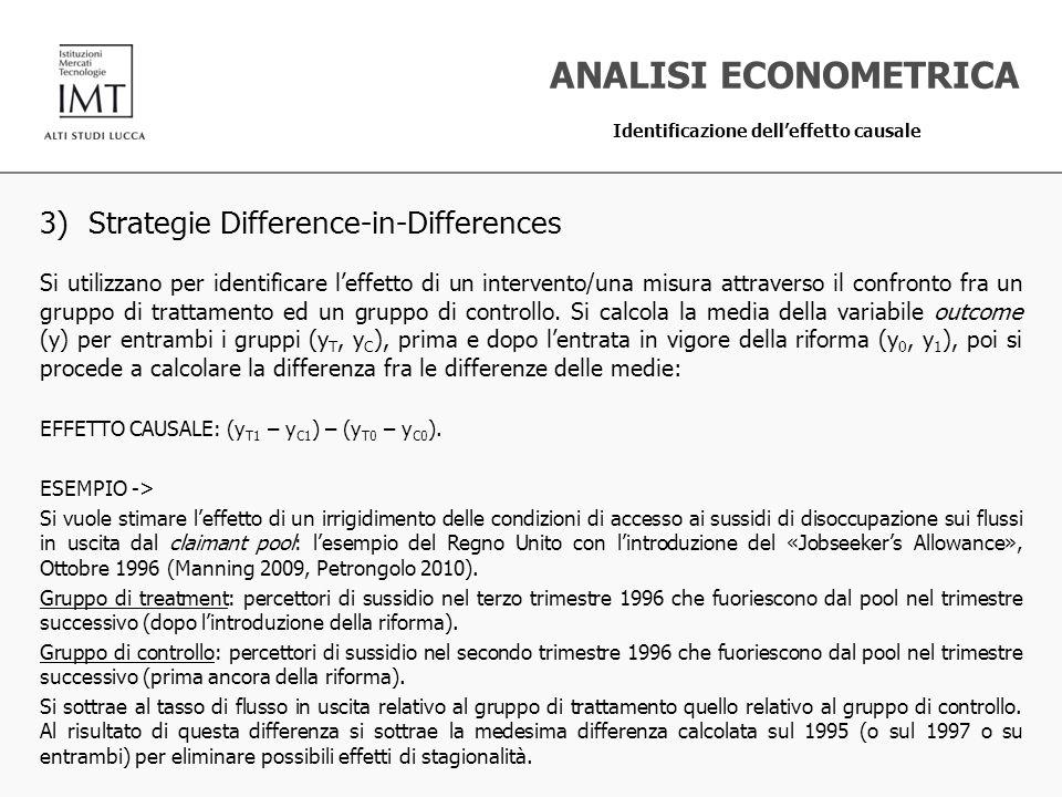 3) Strategie Difference-in-Differences Si utilizzano per identificare leffetto di un intervento/una misura attraverso il confronto fra un gruppo di tr