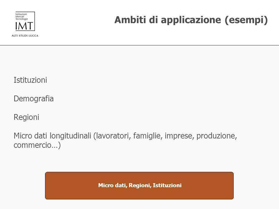 Ambiti di applicazione (esempi) Istituzioni Demografia Regioni Micro dati longitudinali (lavoratori, famiglie, imprese, produzione, commercio…) Micro