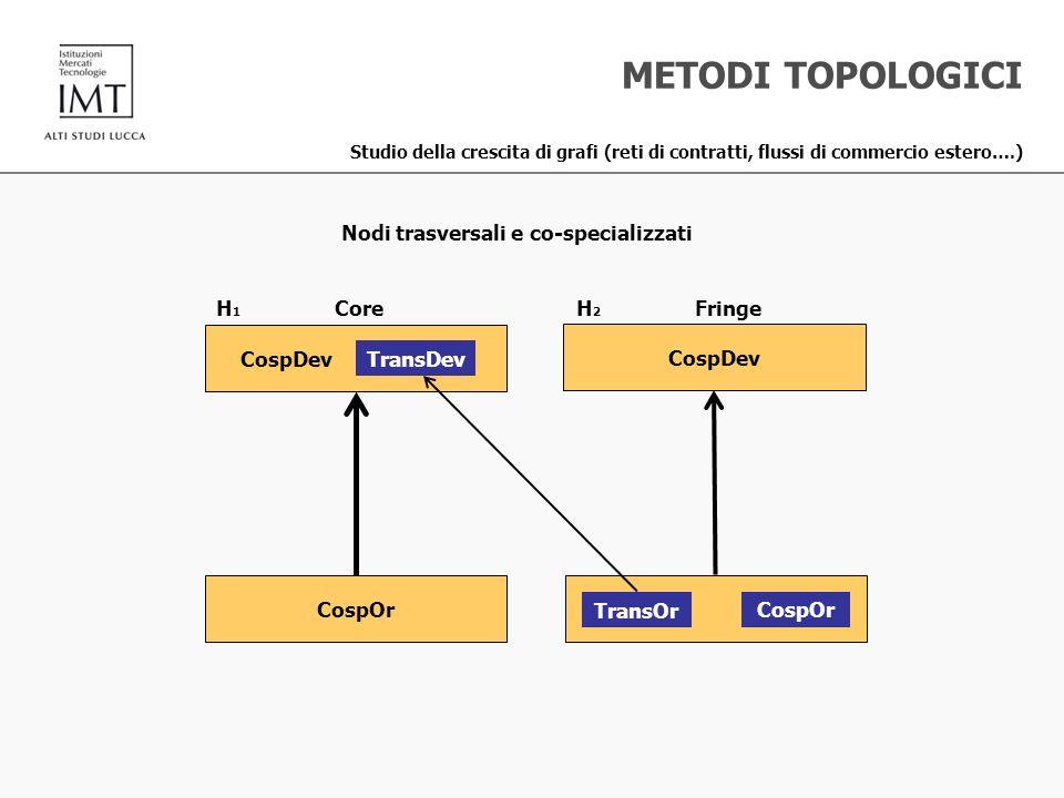 METODI TOPOLOGICI Studio della crescita di grafi (reti di contratti, flussi di commercio estero….) CospOr TransOr CospOr CospDev TransDev CospDev H 1