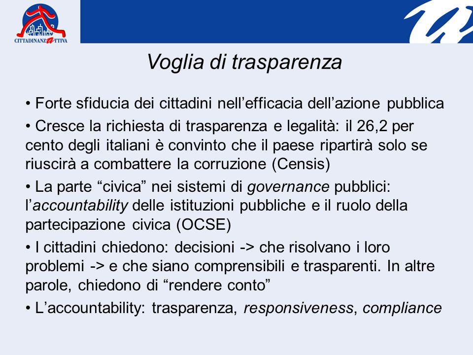 Forte sfiducia dei cittadini nellefficacia dellazione pubblica Cresce la richiesta di trasparenza e legalità: il 26,2 per cento degli italiani è convi
