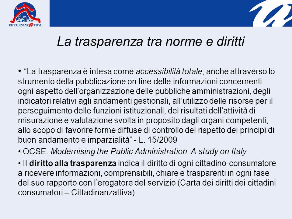 La trasparenza è intesa come accessibilità totale, anche attraverso lo strumento della pubblicazione on line delle informazioni concernenti ogni aspet