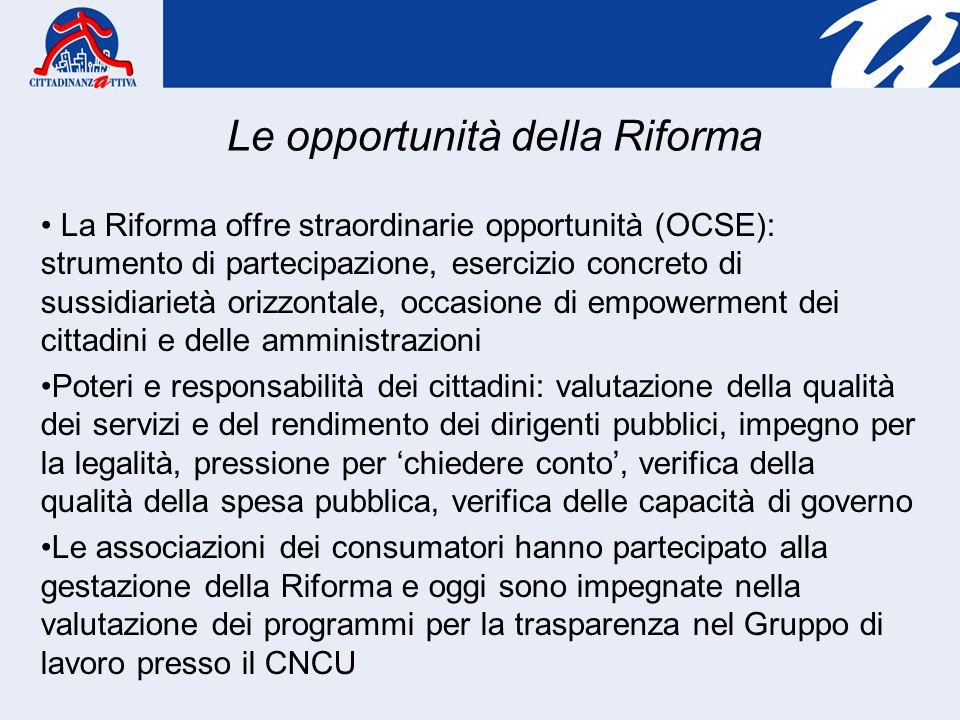 La Riforma offre straordinarie opportunità (OCSE): strumento di partecipazione, esercizio concreto di sussidiarietà orizzontale, occasione di empowerm