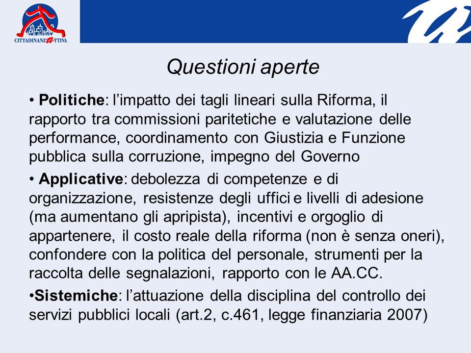 Politiche: limpatto dei tagli lineari sulla Riforma, il rapporto tra commissioni paritetiche e valutazione delle performance, coordinamento con Giusti