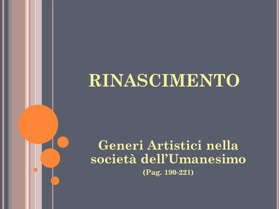 RINASCIMENTO Generi Artistici nella società dellUmanesimo (Pag. 190-221)