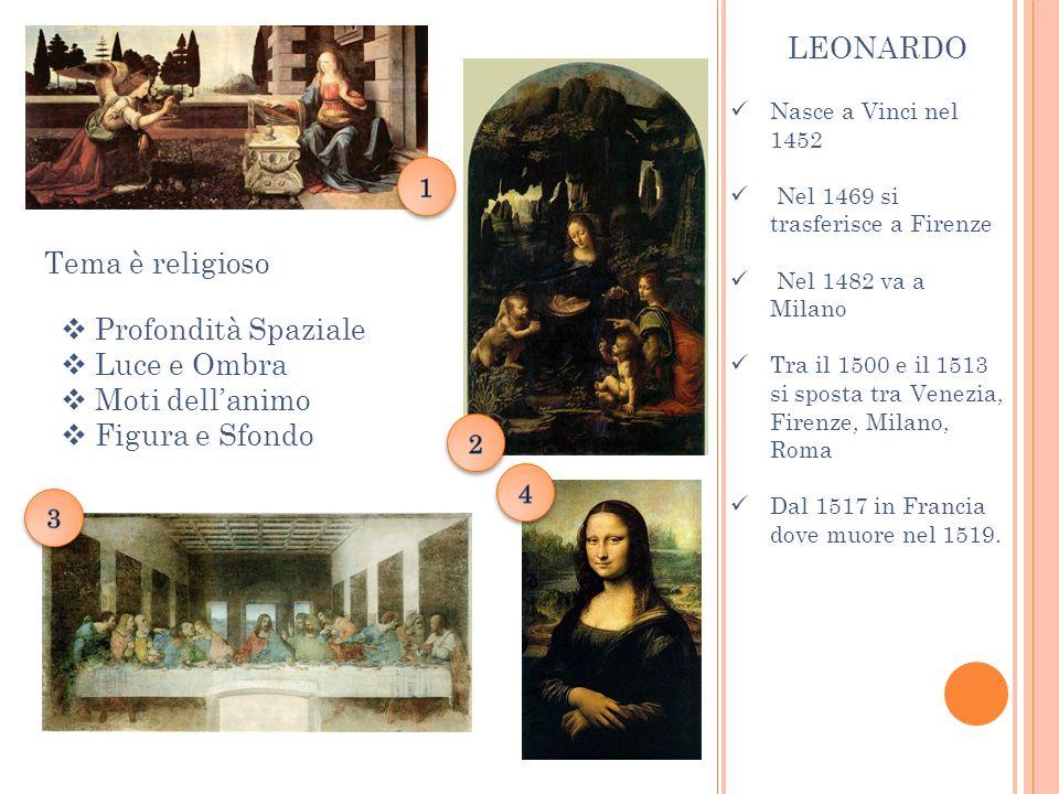 Nasce a Vinci nel 1452 Nel 1469 si trasferisce a Firenze Nel 1482 va a Milano Tra il 1500 e il 1513 si sposta tra Venezia, Firenze, Milano, Roma Dal 1