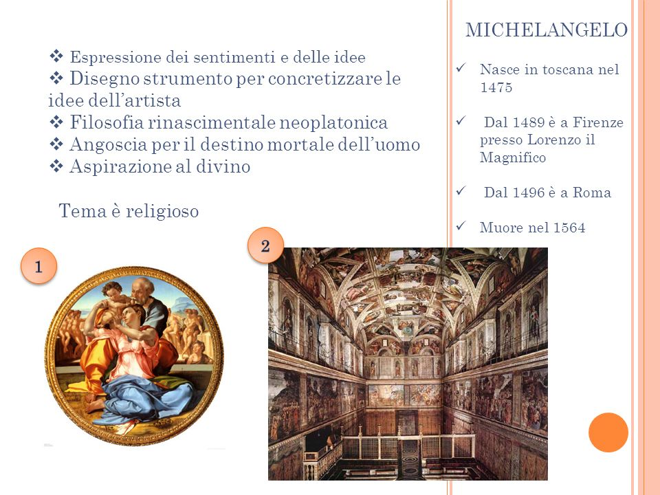 Nasce in toscana nel 1475 Dal 1489 è a Firenze presso Lorenzo il Magnifico Dal 1496 è a Roma Muore nel 1564 MICHELANGELO Espressione dei sentimenti e