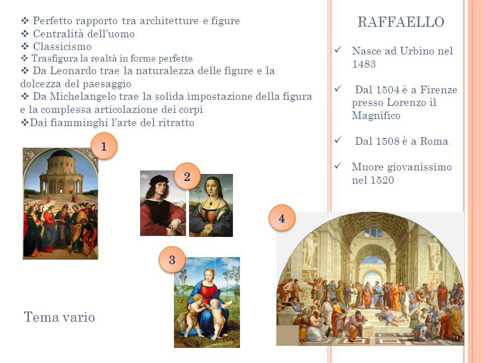 Nasce ad Urbino nel 1483 Dal 1504 è a Firenze presso Lorenzo il Magnifico Dal 1508 è a Roma Muore giovanissimo nel 1520 RAFFAELLO Perfetto rapporto tr