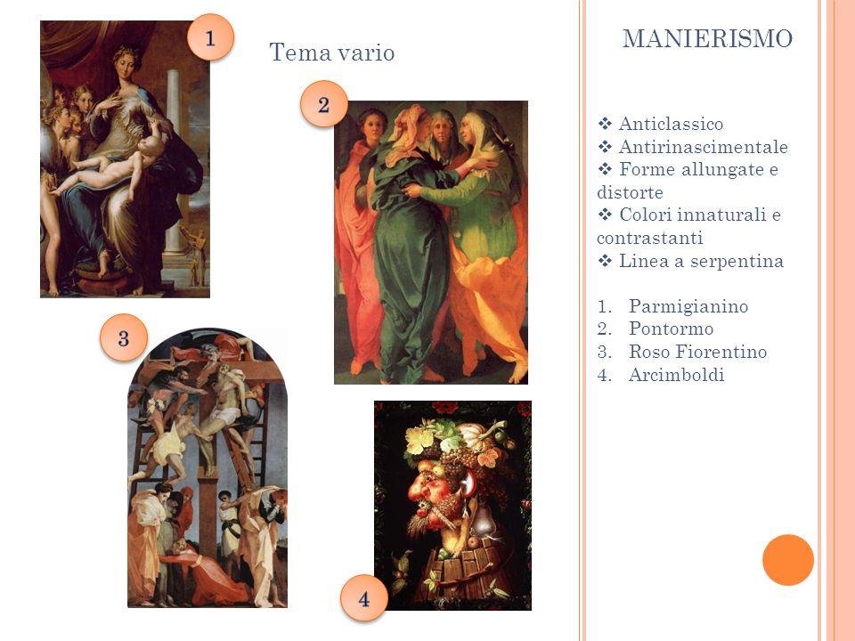 MANIERISMO Tema vario Anticlassico Antirinascimentale Forme allungate e distorte Colori innaturali e contrastanti Linea a serpentina 1.Parmigianino 2.