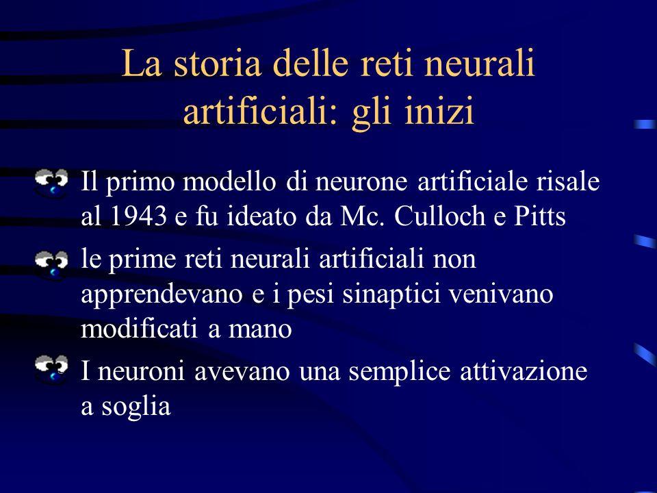 Addestramento Le reti neurali rispondono in funzione della forza delle connessioni fra neuroni Una rete addestrata è quindi una rete in cui i pesi del