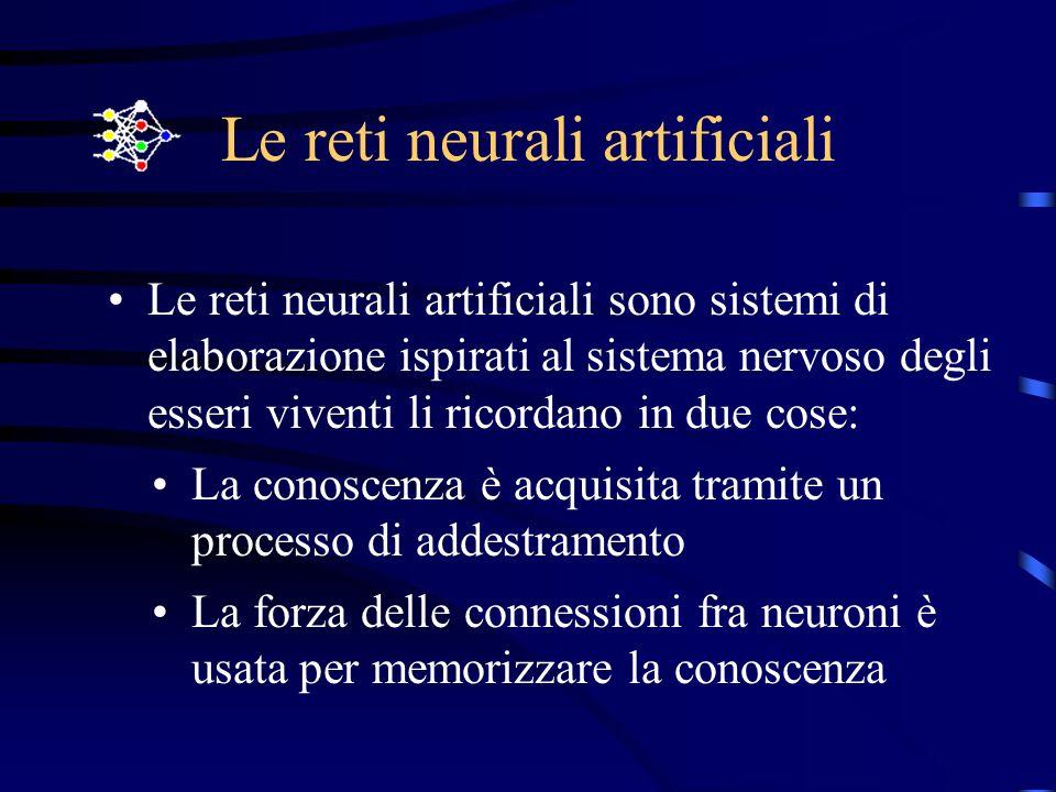 Le reti neurali artificiali Le reti neurali artificiali sono sistemi di elaborazione ispirati al sistema nervoso degli esseri viventi li ricordano in due cose: La conoscenza è acquisita tramite un processo di addestramento La forza delle connessioni fra neuroni è usata per memorizzare la conoscenza