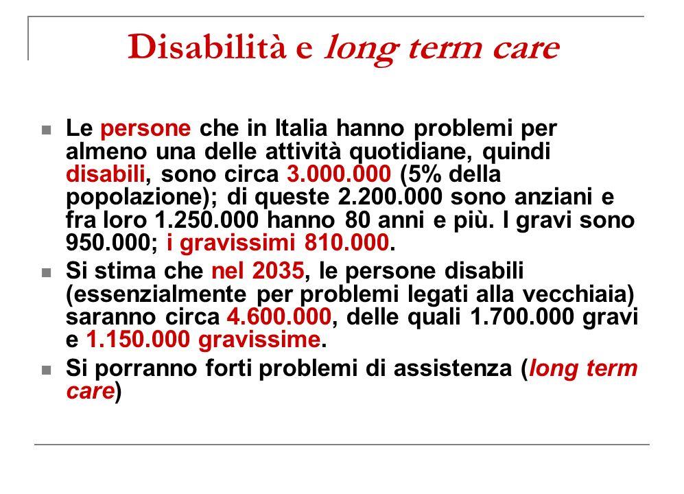 Disabilità e long term care Le persone che in Italia hanno problemi per almeno una delle attività quotidiane, quindi disabili, sono circa 3.000.000 (5% della popolazione); di queste 2.200.000 sono anziani e fra loro 1.250.000 hanno 80 anni e più.