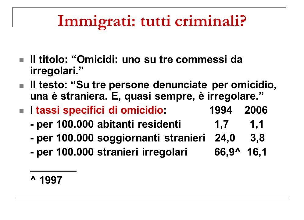 Immigrati: tutti criminali.Il titolo: Omicidi: uno su tre commessi da irregolari.