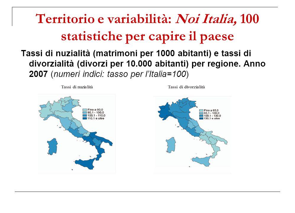 Territorio e variabilità: Noi Italia, 100 statistiche per capire il paese Tassi di nuzialità (matrimoni per 1000 abitanti) e tassi di divorzialità (divorzi per 10.000 abitanti) per regione.
