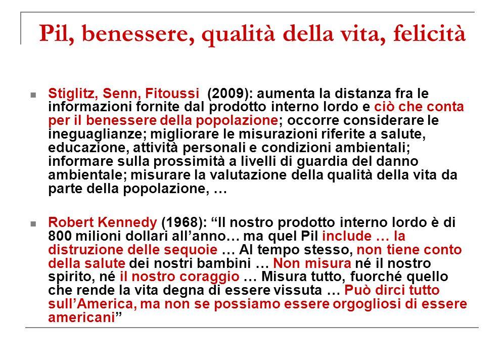 Pil, benessere, qualità della vita, felicità Stiglitz, Senn, Fitoussi (2009): aumenta la distanza fra le informazioni fornite dal prodotto interno lordo e ciò che conta per il benessere della popolazione; occorre considerare le ineguaglianze; migliorare le misurazioni riferite a salute, educazione, attività personali e condizioni ambientali; informare sulla prossimità a livelli di guardia del danno ambientale; misurare la valutazione della qualità della vita da parte della popolazione, … Robert Kennedy (1968): Il nostro prodotto interno lordo è di 800 milioni dollari allanno… ma quel Pil include … la distruzione delle sequoie … Al tempo stesso, non tiene conto della salute dei nostri bambini … Non misura né il nostro spirito, né il nostro coraggio … Misura tutto, fuorché quello che rende la vita degna di essere vissuta … Può dirci tutto sullAmerica, ma non se possiamo essere orgogliosi di essere americani